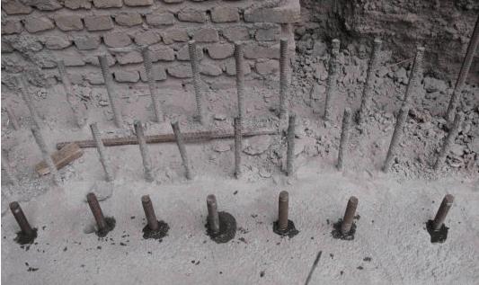 کاشت آرماتور با استفاده از مواد پایه سیمانی